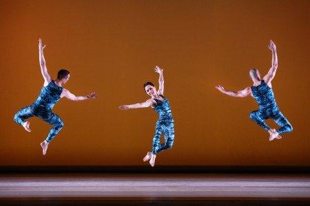 "Paul Taylor Dance Company members (l-) Lee Duveneck, Eran Bugge, and George Smallwood in ""Concertiana"" Photo by Paul B. Goode"