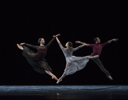 "Pacific Northwest Ballet dancers (l-r) Sarah-Gabrielle Ryan, Leta Biasucci, and Ryan Cardea in Ezra Thomson's ""The Perpetual State"" Photo by Angela Sterling"