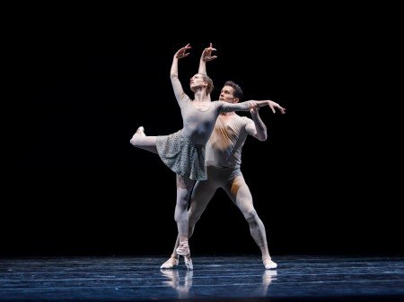 "Pacific Northwest Ballet dancers Lesley Rausch and Seth Orza in William Forsythe's ""Slingerland"" Photo by Lindsay Thomas"