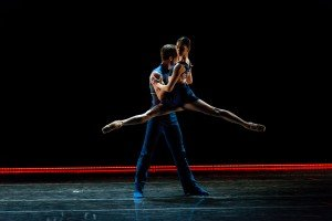 "Tulsa Ballet dancers Joshua Stayton and Jaimi Cullen in Annabelle Lopez Ochoa's ""Shibuya Blues"" Photo by Francsico Estevez"