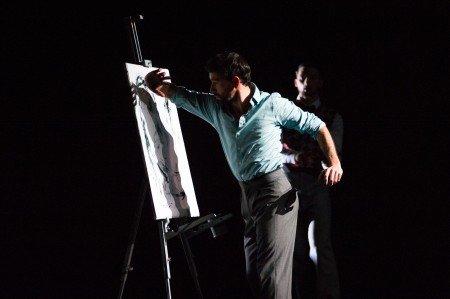 "Ballet Hispanico dancers Omar Ramon De Jesus and Chris Bloom in Gustavo Ramirez Sansano's ""Espiritus Gemelos"" Photo by Paula Lobo"