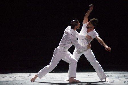 "Ballet Hispanico dancers Chris Bloom and Omar Ramon De Jesus in Gustavo Ramirez Sansosa's ""Espiritus Gemelos"" Photo by Paula Lobo"