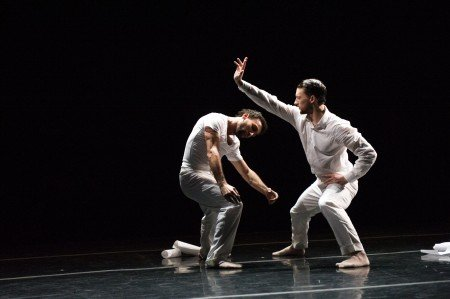 "Ballet Hispanico dancers Chris Bloom and Omar Ramon De Jesus in Gustavo Ramirez Sansosa's ""Espiritus Gemelos"" Photo by Paula Lobo"