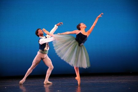 "Alison Stroming and Da' Von Doane in George Balanchine's ""Valse Fantasie"" Photo by Dave Andrews"