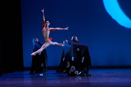 "Anthony Santos and members of Dance Theatre of Harlem in Geoffrey Holder's ""Dougla"" Photo by Rachel Neville"