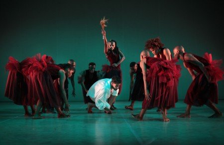 "Llewellyn Mnguni (standing, center) and members of The Dance Factory in ""Dada Masilo's 'Giselle'"" Photo by John Hogg"