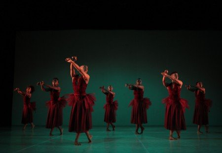 "Dada Masilo (center foreground) and members of The Dance Factory in ""Dada Masilo's 'Giselle'"" Photo by John Hogg"