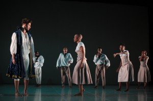 "Dada Masilo (center) and members of The Dance Factory in ""Dada Masilo's 'Giselle'"" Photo by John Hogg"