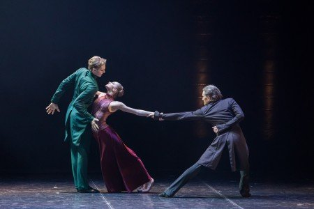 "(l-r) Igor Subbotin, Daria Reznik and Sergey Volobuev in Boris Eifman's ""Anna Karenina"" Photo by Evgeny Matveev"