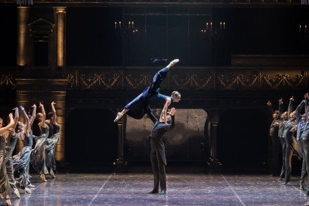 "Daria Reznik, Igor Subbotin, and members of Eifman Ballet of St. Petersburg in Boris Eifman's ""Anna Karenina"" Photo by Evgeny Matveev"