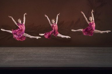 "Members of New York City Ballet  in a prior performance of  Jerome Robbins's ""The Four Seasons""  Photo by Paul Kolnik"