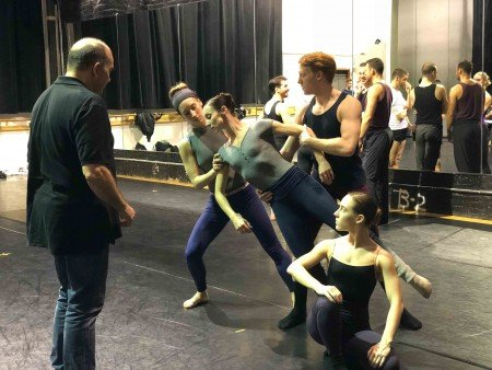 "Pascal Rioult and members of the company rehearsing his new work, ""Nostalghia,"" for RIOULT Dance NY Photo courtesy of RIOULT Dance NY"
