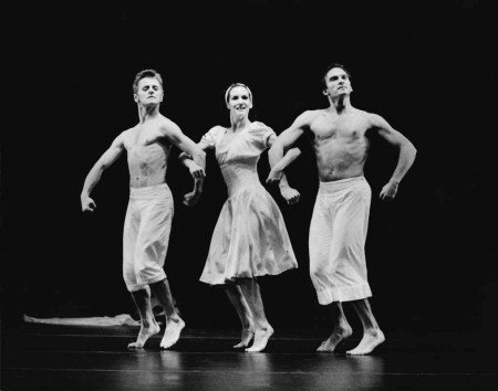 "Mikhail Baryshnikov, Joyce Herring, and Pascal Rioult in Martha Graham's ""El Penitente"" Photo by Nan Melville Courtesy of RIOULT Dance NY"