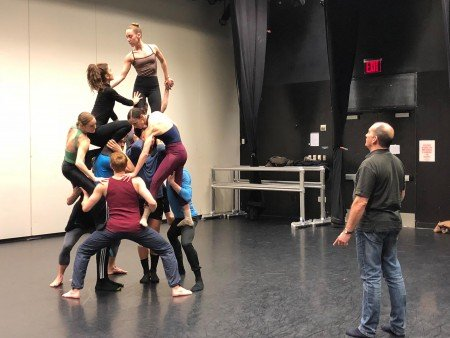 "Pascal Rioult and members of the company rehearsing his new work, ""Nostalghia,"" for RIOULT Dance NY Photo courtesy RIOULT Dance NY"