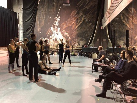 "Pascal Rioult and members of the company rehearsing his new work, ""Nostalghia,"" for RIOULT DANCE NY [the backdrop has no relation to the new work] Photo courtesy of RIOULT Dance NY"
