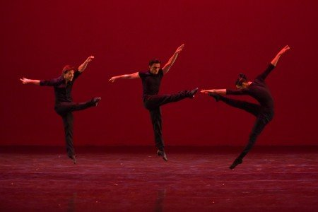 "(l-r) Daniel Ulbricht, Denys Drozdyuk, and Lex Ishimoto in ""Tres Hombres"" at the YAGP Gala Photo by VAM Productions​"