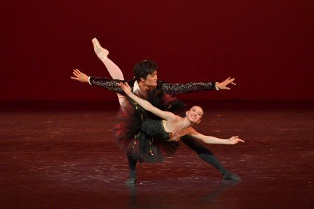 "Isabella Boylston and Kimin Kim in the pas de deux from ""Don Quixote"" at the YAGP Gala Photo by VAM Productions"