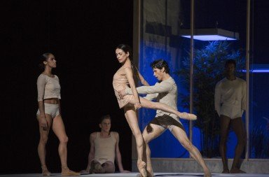 "(foreground, l-r) Misty Copeland, Alessandra Ferri, and Herman Cornejo in Wayne McGregor's ""AFTERITE""   Photo by Marty Sohl"