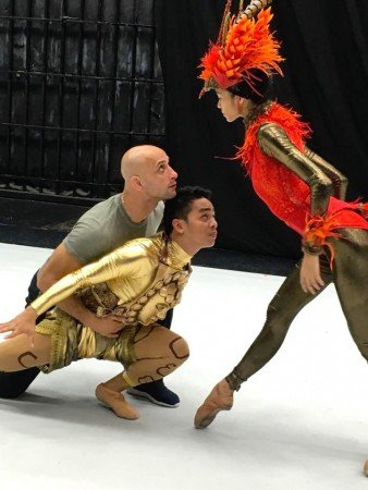 "George Birkadze rehearsing Ballet Philippines dancers Cyril Aran Fallar and Rita Angela Winder in ""Firebird"" Photo by Justin Bella Alonte"