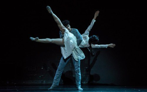 "Anthony Lomuljo and Ema Yuasa in Mats Ek's ""Julia and Romeo"" Photo: Amitava Sarkar"