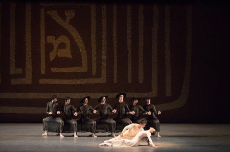 """Tiler Peck, Joaquin De Luz (foreground) and members of New York City Ballet in Jerome Robbins's """"Dybbuk"""" Photo by Paul Kolnik"""