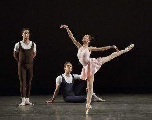 "Lauren Lovette and members of New York City Ballet here in Jerome Robbins's ""The Goldberg Variations"" Photo by Paul Kolnik"