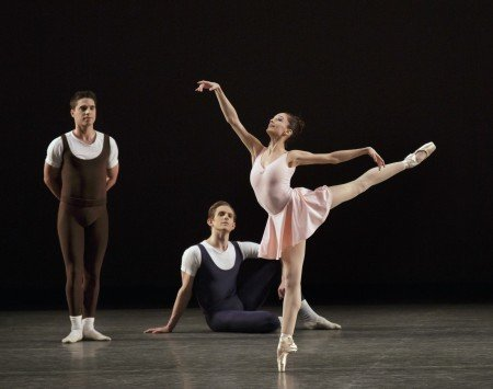 "Lauren Lovette and members of New York City Ballet in Jerome Robbins's ""The Goldberg Variations"" Photo by Paul Kolnik"