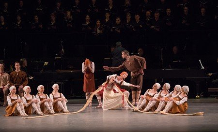 "Indiana Woodward, Ashley Hod, Unity Phelan, Russell Janzen (center, front to back), and members of New York City Ballet in Jerome Robbins's ""Les Noces"" Photo by Paul Kolnik"