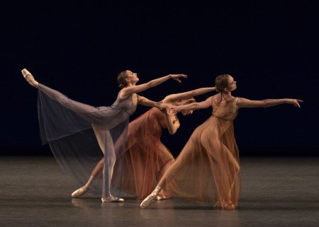 "(l-r) Ashley Laracey, Isabella LaFreniere, and Lydia Wellington in Jerome Robbins's ""Antique Epigraphs"" Photo by Erin Baiano"