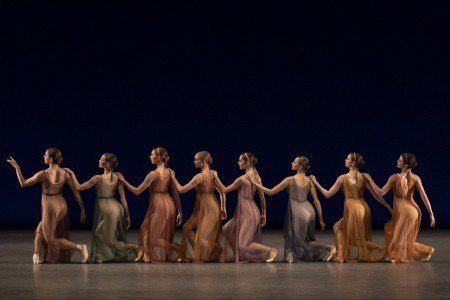"""Members of New York City Ballet in Jerome Robbins's """"Antique Epigraphs"""". Photo by Erin Baiano"""