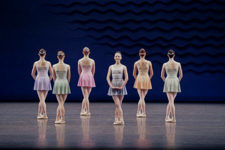 "Jenelle Manzi (center) and members of New York City Ballet in Jerome Robbins's ""In G Major"" Photo by Paul Kolnik"