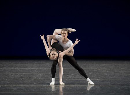 "Teresa Reichlen and Chase Finlay in George Balanchine's ""Agon"" Photo by Paul Kolnik"