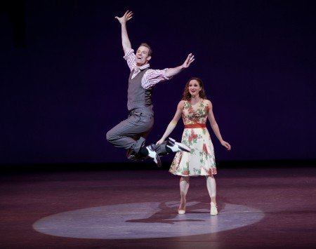 "Ashley Bouder and Andrew Veyette in Jerome Robbins's ""All I Need Is The Girl"" from ""Gypsy"" in ""Something to Dance About"" Direction and Musical Staging by Warren Carlyle Photo by Paul Kolnik"