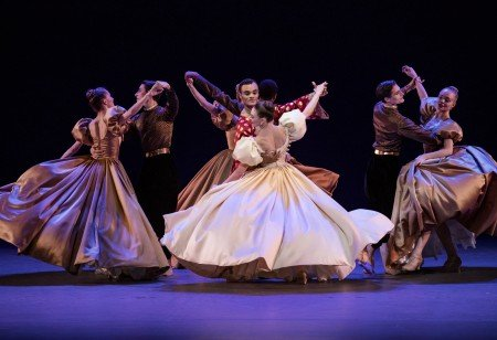 "Tiler Peck and Taylor Stanley (center) and members of New York City Ballet in Jerome Robbins's ""Shall We Dance"" from ""The King and I"" in ""Something to Dance About"" Direction and Musical Staging by Warren Carlyle Photo by Paul Kolnik"