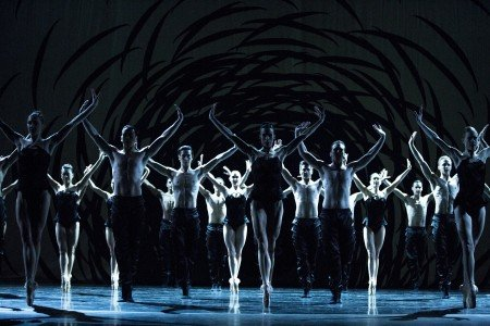 """Pacific Northwest Ballet dancers in Crystal Pite's """"Emergence"""" Photo by Angela Sterling"""