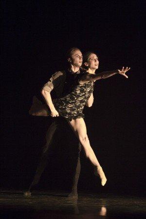 "Pacific Northwest Ballet dancers Elizabeth Murphy and Dylan Wald in Alejandro Cerrudo's ""Little mortal jump"" Photo by Angela Sterling"