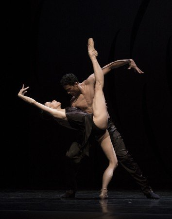 "Pacific Northwest Ballet dancers Lindsi Dec and Karel Cruz in Crystal Pite's ""Emergence"" Photo by Angela Sterling"