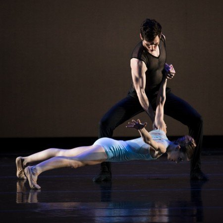 """Oregon Ballet Theatre dancers Emily Parker and Christopher Kaiser in Nicolo Fonte's """"Left Unsaid"""" Photo by James McGrew"""