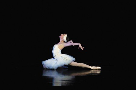 "Oregon Ballet Theatre dancer Jacqueline Straughan in Michel Fokine's ""The Dying Swan"" Photo by James McGrew"
