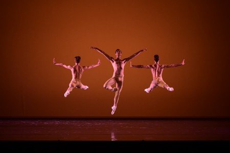 "Oregon Ballet Theatre dancer Christopher Kaiser (center) in James Canfield's ""Drifted in a Deeper Land"" Photo by Yi-Yin"