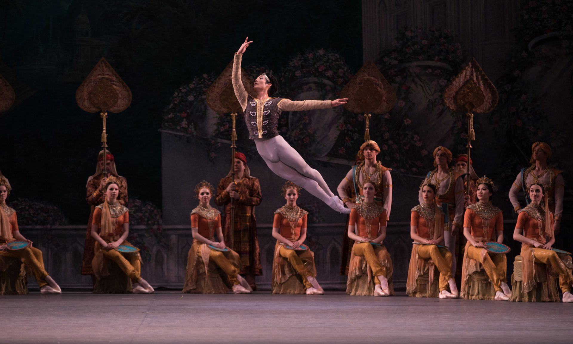 "Joo Won Ahn and members of American Ballet Theatre in Natalia Makarova's staging of ""La Bayadère"" Photo by Rosalie O'Connor"