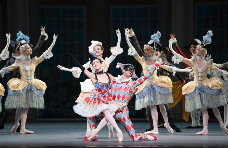 "Isabella Boylston, James Whiteside, and members of American Ballet Theatre in Alexei Ratmansky's staging of ""Harlequinade"" Photo by Rosalie O'Connor"