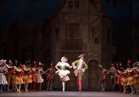 "Courtney Shealy, Luis Ribagorda, and members of American Ballet Theatre in Alexei Ratmansky's staging of ""Harlequinade"" Photo by Rosalie O'Connor"