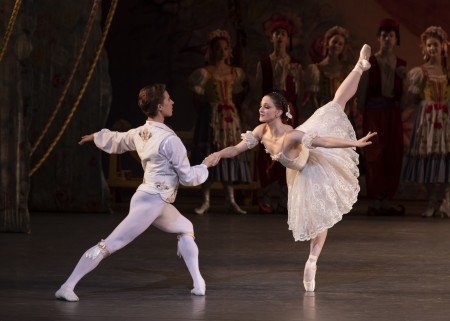 "Ashley Bouder and Joseph Gordon and members of the company in New York City Ballet's production of ""Coppelia"" Photo by Erin Baiano"