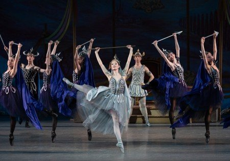 """Unity Phelan (center, front), Spartak Hoxha (center, rear), and members of the company in New York City Ballet's production of """"Coppelia"""" Photo be Erin Baiano"""