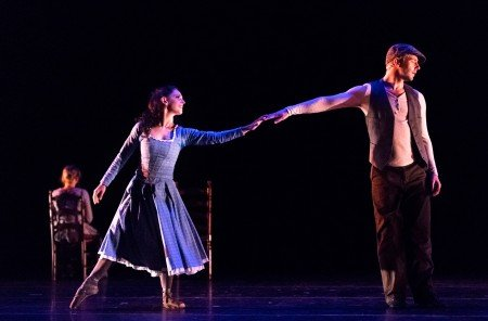 Ramona Kelley, Christopher Dunn and Samantha Bell in Bat Abbit's The Sound of Snow Photo John Hefti