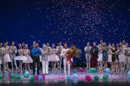 Pacific Northwest Ballet principal dancer Karel Cruz, with members of the company, taking final bows Photo by Lindsay Thomas.