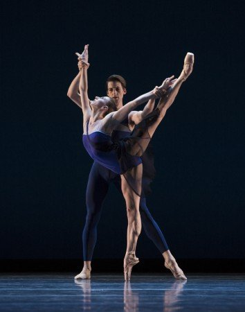 "Pacific Northwest Ballet dancers Elle Macy and Miles Pertl in Christopher Wheeldon's ""Tide Harmonic"" Photo by Angela Sterling"
