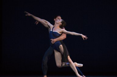 "Pacific Northwest Ballet dancers  Sarah Ricard Orza and Joshua Grant  in Christopher Wheeldon's ""Tide Harmonic""   Photo by Angela Sterling"