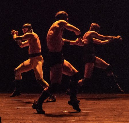 "Armitage Gone! Dance members Ahmaud Culver, Yusaku Komori, and Cristian Laverde-Koenig in Karole Armitage's ""Donkey Jaw Bone"" Photo by Steven Pisano"